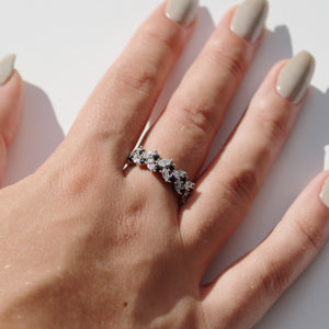 Round Brilliant Cut and Marquise Band - Black Colour in Sterling Silver