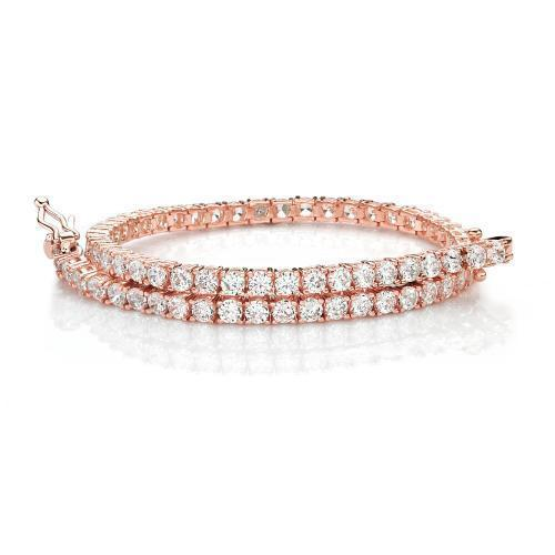 Fine Round Brilliant Tennis Bracelet in Rose Gold