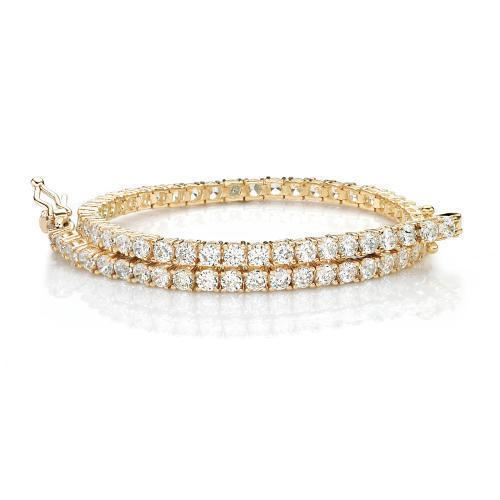 Fine Round Brilliant Tennis Bracelet in Yellow Gold