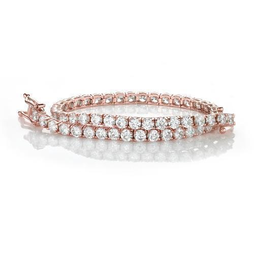 Classic Round Brilliant Cut Tennis Bracelet in Rose Gold