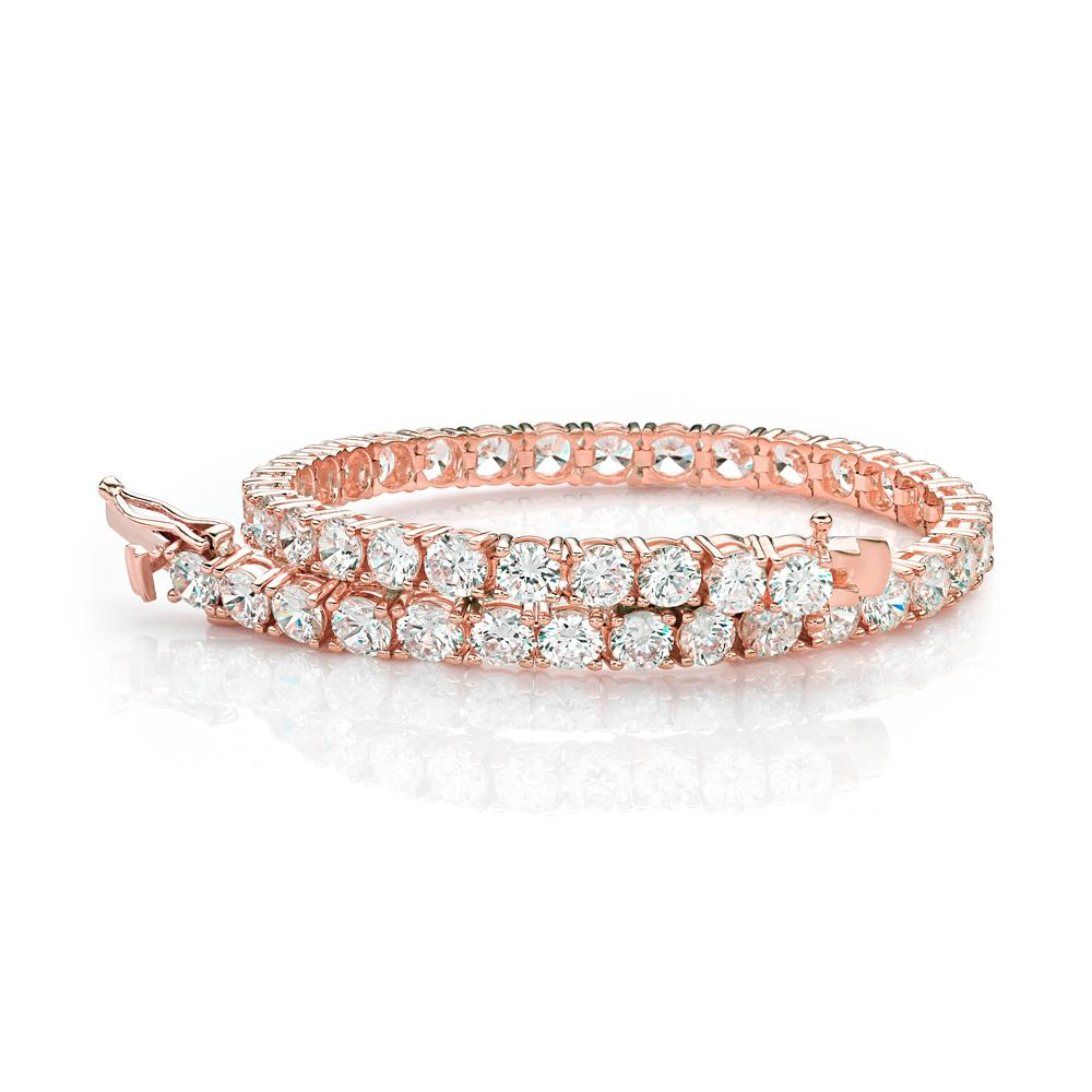 Large Round Brilliant Cut Stones Tennis Bracelet in Rose Gold