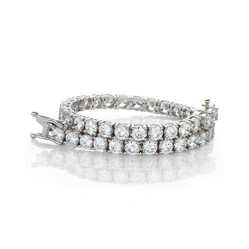 Large Round Brilliant Cut Stones Tennis Bracelet in White Gold
