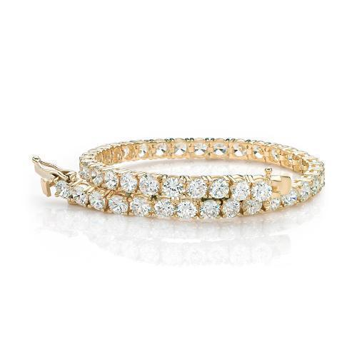 Large Round Brilliant Cut Stones Tennis Bracelet in Yellow Gold