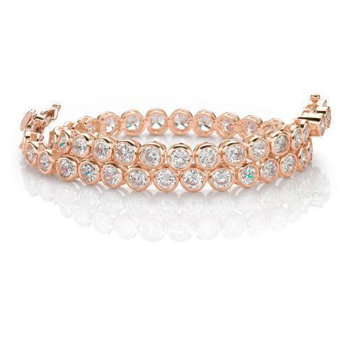 Fine Bezel Set Tennis Bracelet in Rose Gold