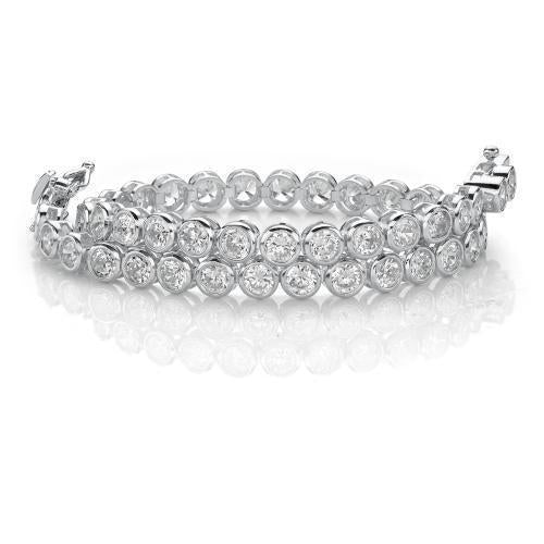 Fine Bezel Set Tennis Bracelet in White Gold