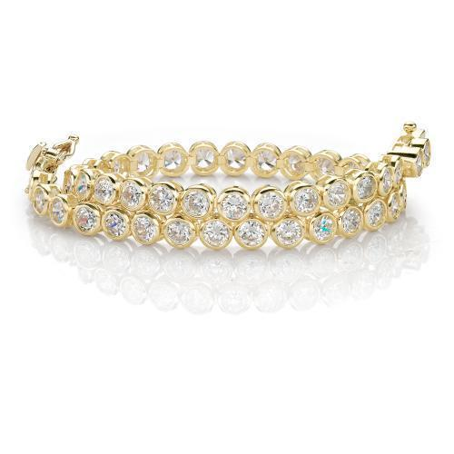 Fine Bezel Set Tennis Bracelet in Yellow Gold