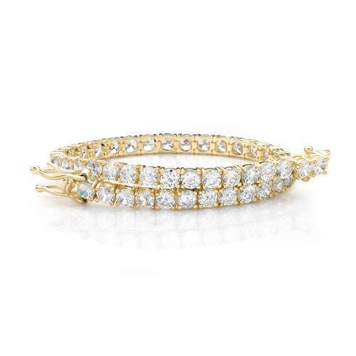 Elegant Round Brilliant Tennis Bracelet in Yellow Gold
