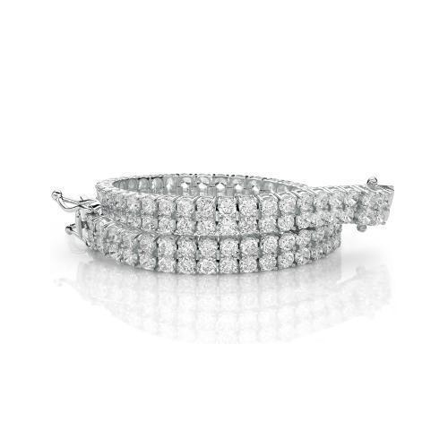 Double Row Round Brilliant Tennis Bracelet in White Gold