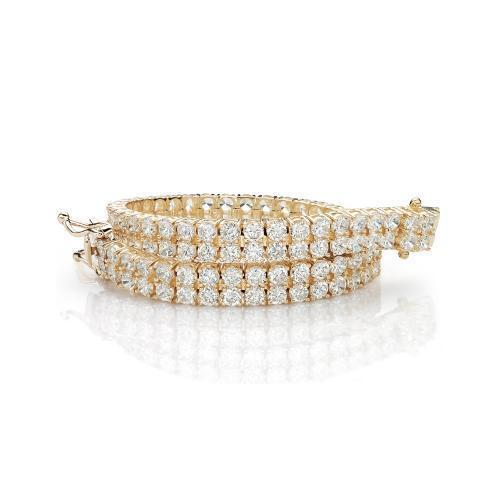 Double Row Round Brilliant Tennis Bracelet in Yellow Gold