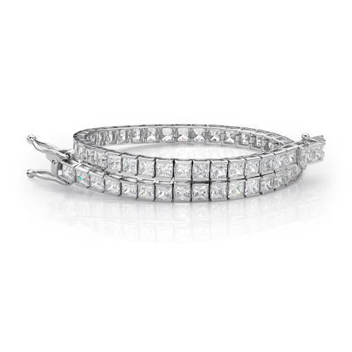Classic Princess Tennis Bracelet in White Gold