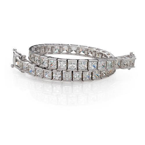 Classic Princess Tennis Bracelet Large in White Gold