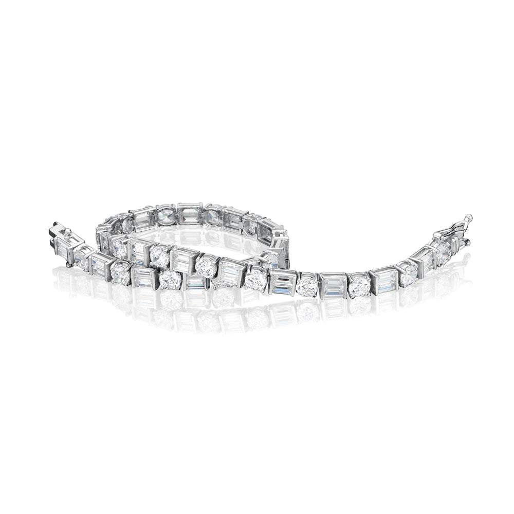 Contemporary Tennis Bracelet in White Gold