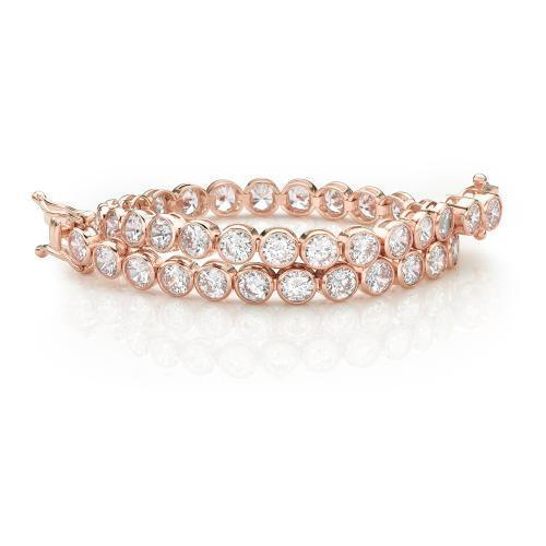 Large Bezel Set Tennis Bracelet in Rose Gold