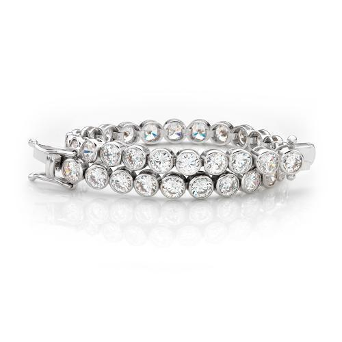 Large Bezel Set Tennis Bracelet in White Gold