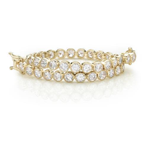 Large Bezel Set Tennis Bracelet in Yellow Gold