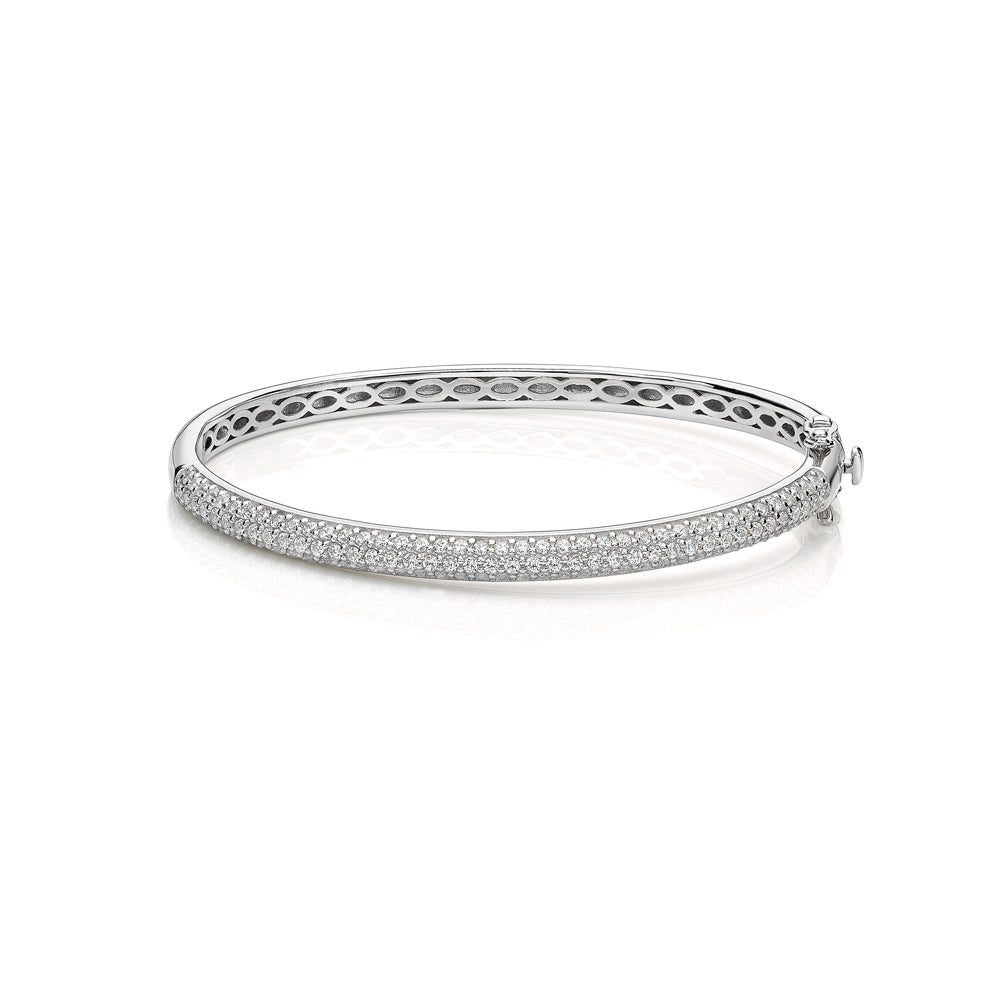Sterling Silver Pave Set Bangle in Sterling Silver