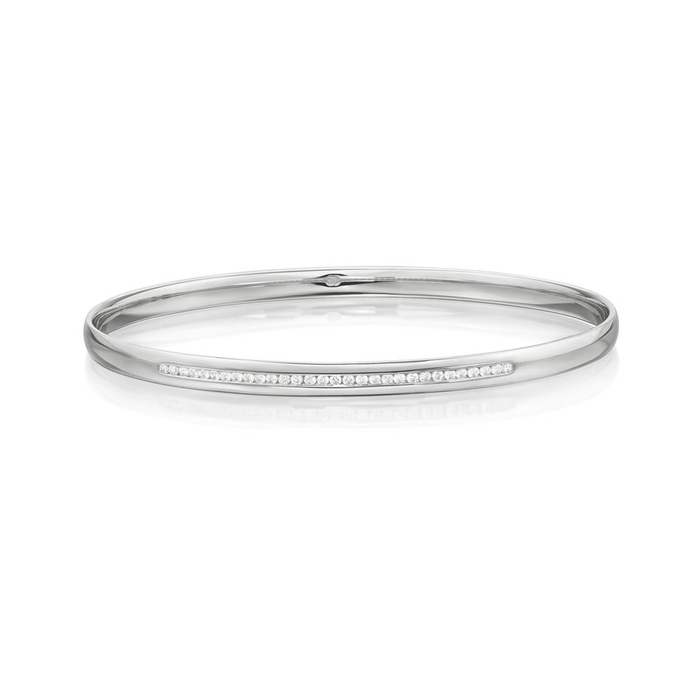 Channel Set Bangle in White Gold