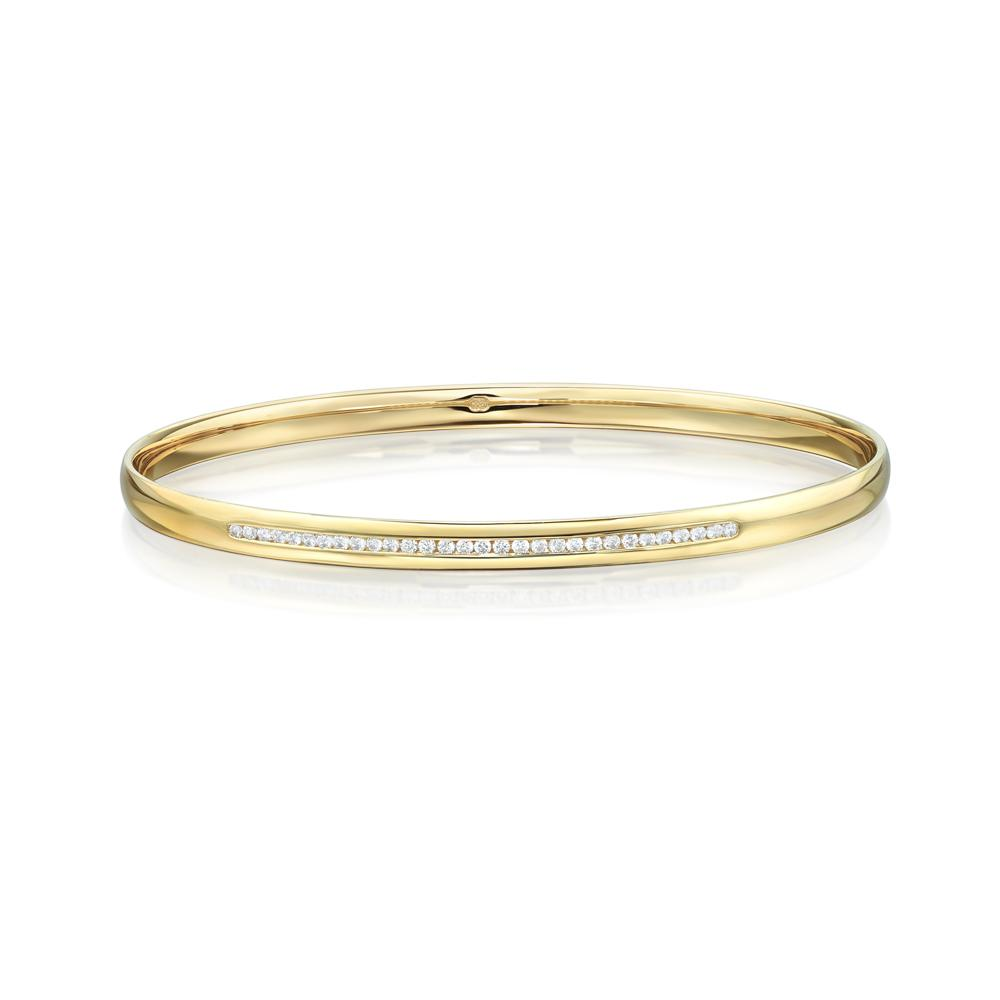 Channel Set Bangle in Yellow Gold