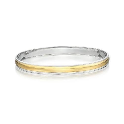 Synergy Bangle in Sterling Silver w/ Yellow Gold