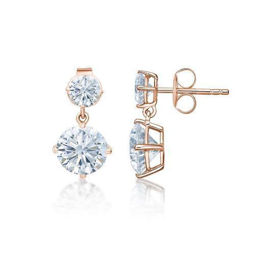 Classic Round Brilliant Drop Earrings Large in Rose Gold