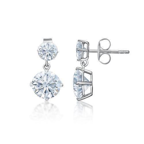 Classic Round Brilliant Drop Earrings Large in White Gold