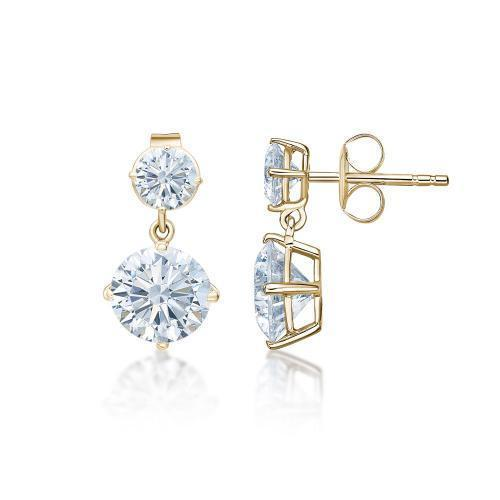 Classic Round Brilliant Drop Earrings Large in Yellow Gold
