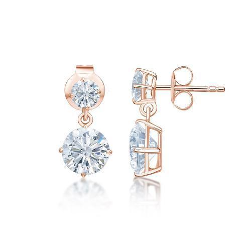 Classic Round Brilliant Drop Earrings Small in Rose Gold