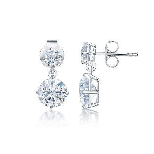 Classic Round Brilliant Drop Earrings Small in White Gold