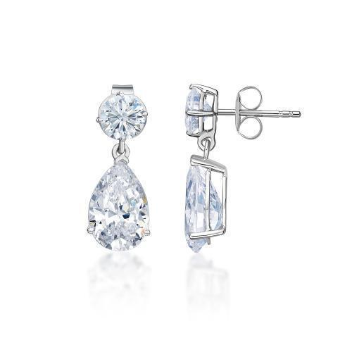 Classic Round Brilliant and Pear Drop Earrings Large in White Gold