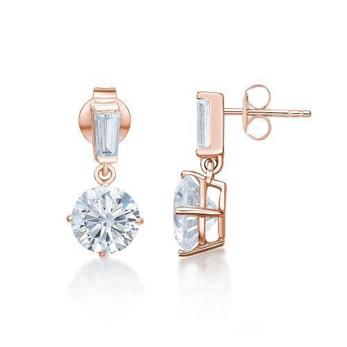 Classic Round Brilliant and Baguette Drop Earrings in Rose Gold