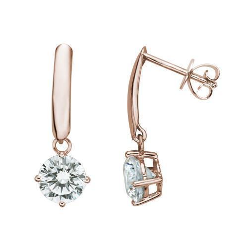 Contemporary Round Brilliant Drop Earrings in Rose Gold