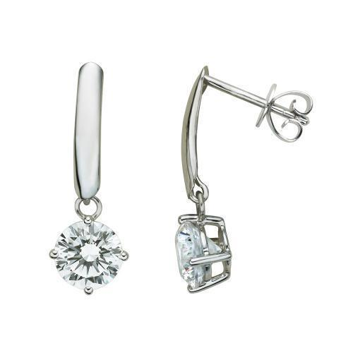 Contemporary Round Brilliant Drop Earrings in White Gold