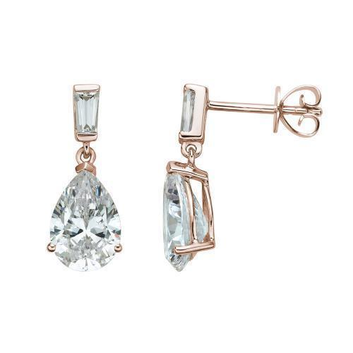 Classic Pear and Baguette Drop Earrings in Rose Gold
