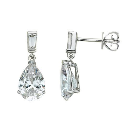 Classic Pear and Baguette Drop Earrings in White Gold