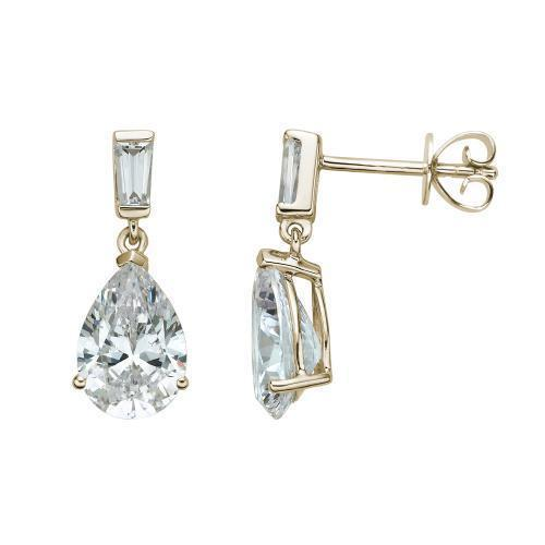 Classic Pear and Baguette Drop Earrings in Yellow Gold