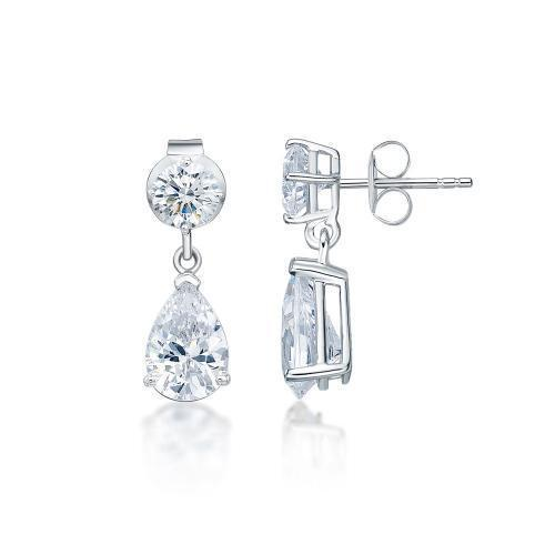 Classic Round Brilliant and Pear Drop Earrings Small in White Gold