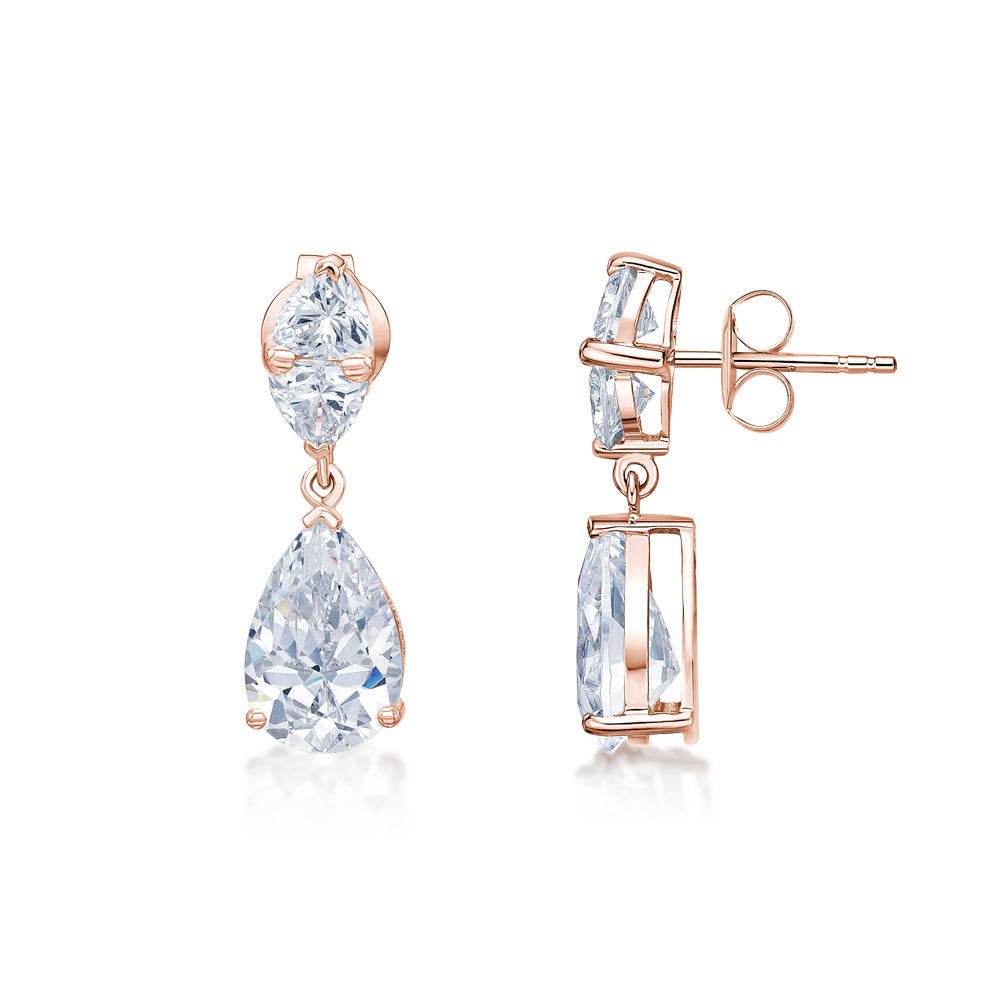 Cushion Trilliant and Pear Drop Earrings in Rose Gold
