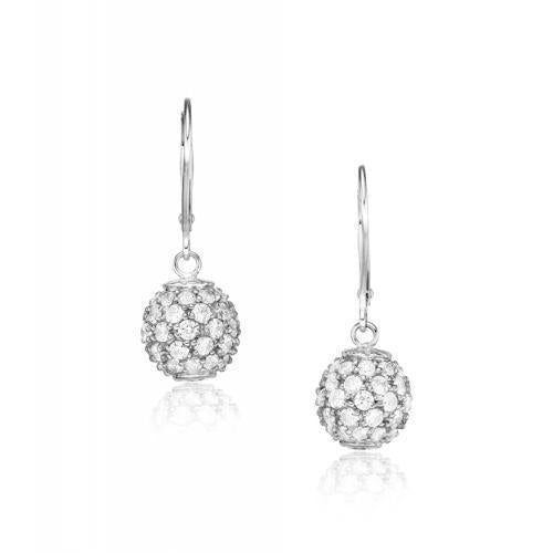 Sterling Silver Micro Pave Set Drop Earrings in Sterling Silver