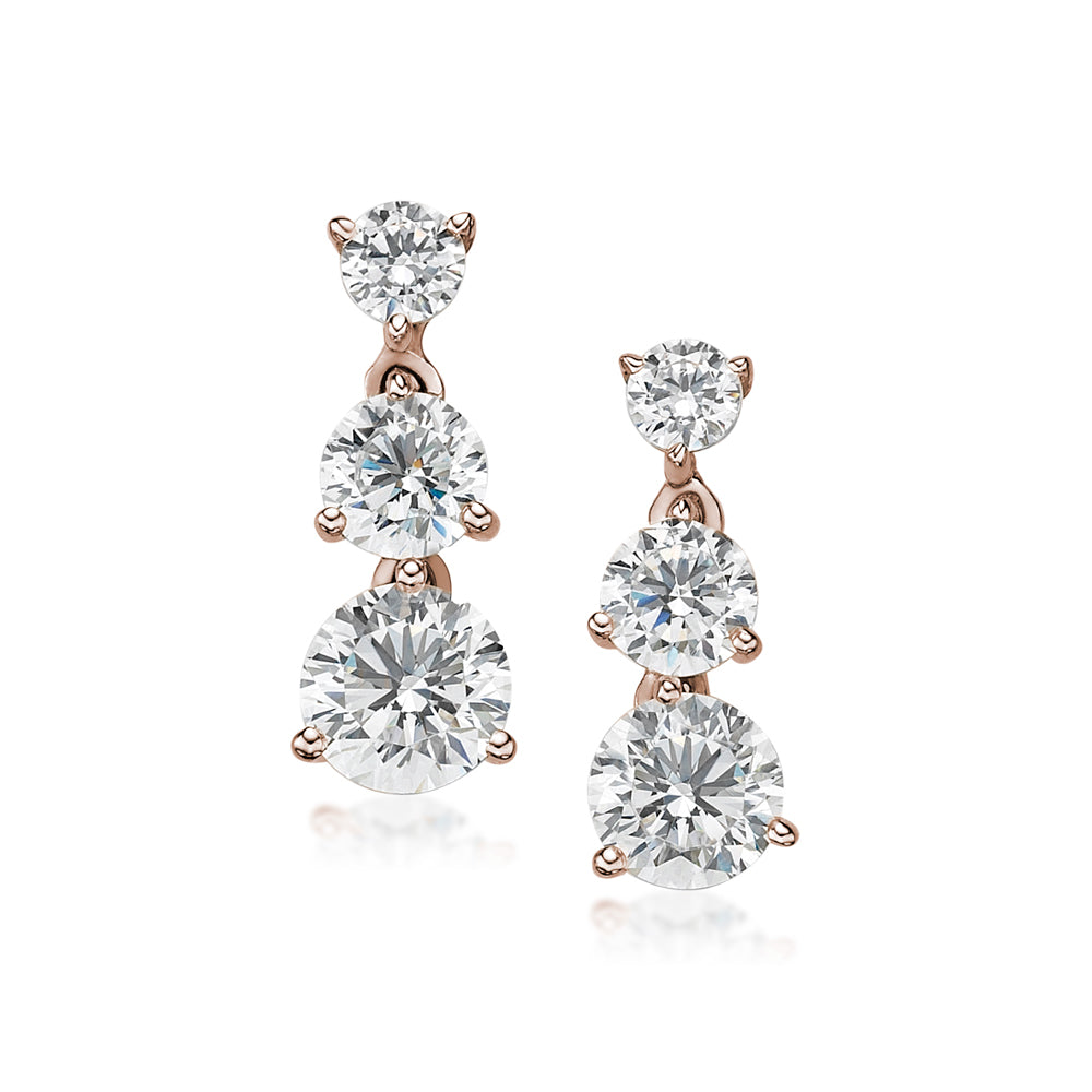 Three Tier Round Brilliant Drop Earrings in Rose Gold