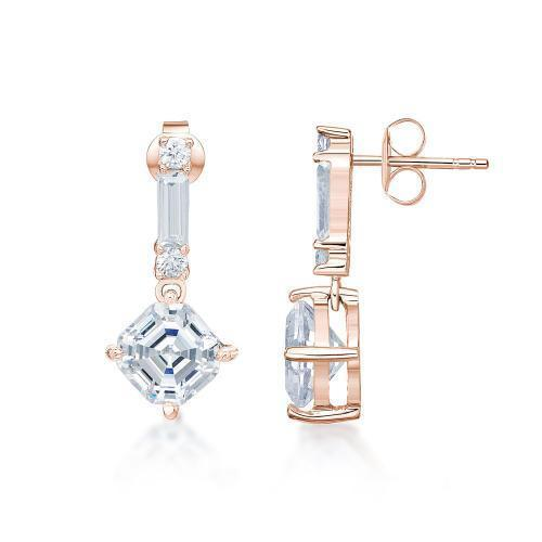 Fancy Asscher Drop Earrings in Rose Gold