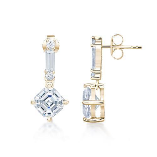 Fancy Asscher Drop Earrings in Yellow Gold
