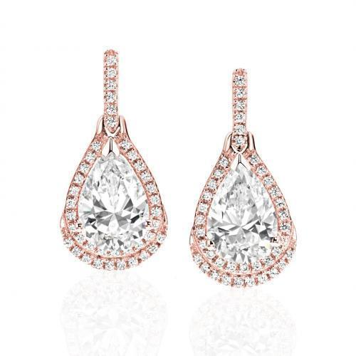 Pear Drop Earrings in Rose Gold