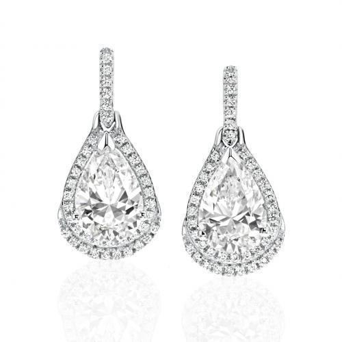 Pear Drop Earrings in White Gold