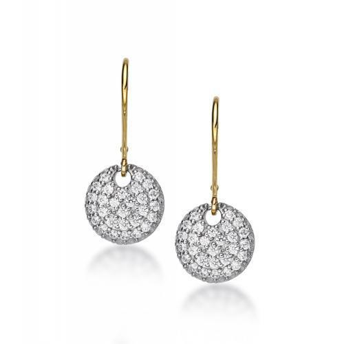 Sterling Silver Pave Disk Drop Earring in Sterling Silver w/ Yellow Gold