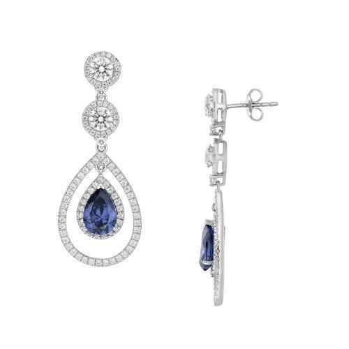 Sterling Silver Round Brilliant with Pear Chandelier Earrings - Tanzanite Simulant in Sterling Silver
