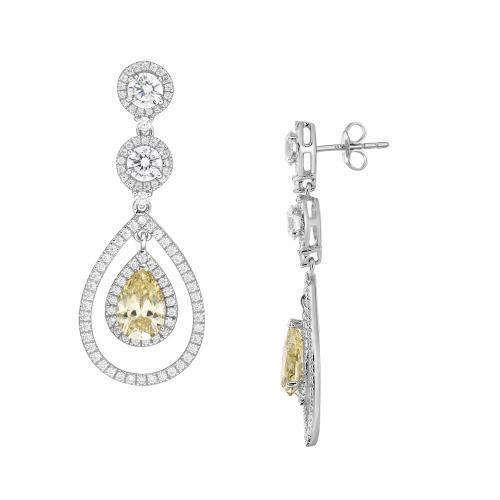 Sterling Silver Round Brilliant with Pear Chandelier Earrings - Yellow Diamond Simulant in Sterling Silver