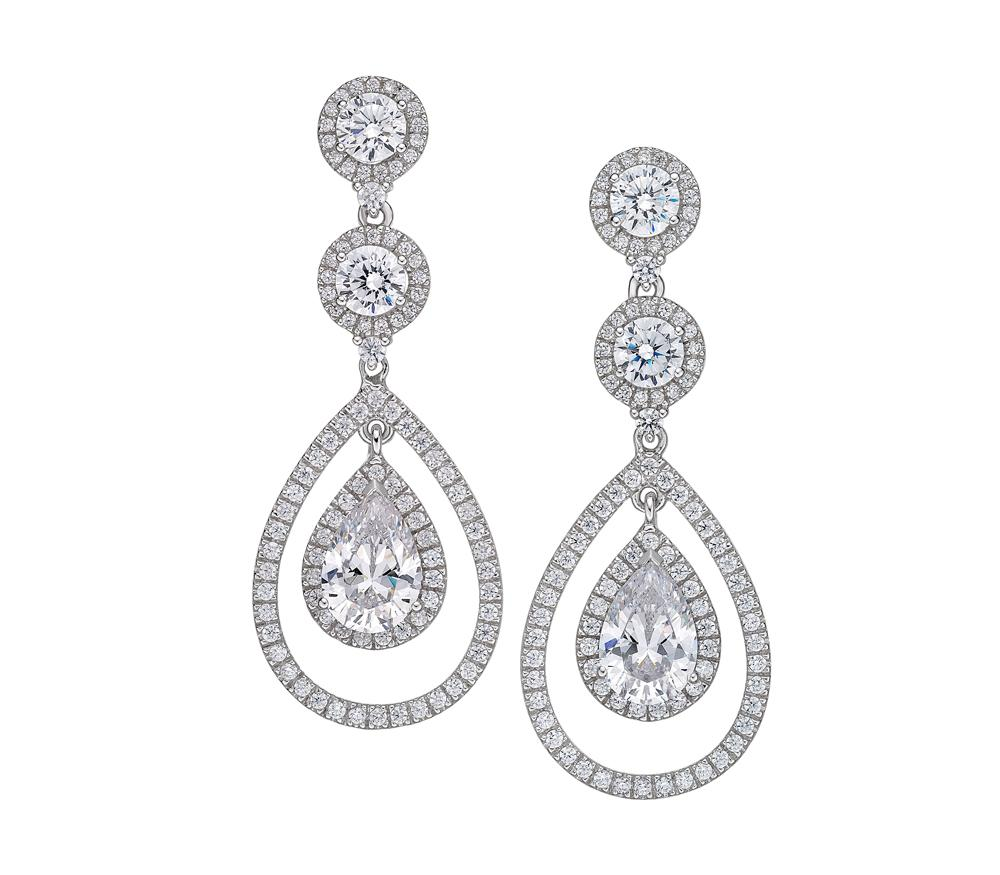 Sterling Silver Round Brilliant with Pear Chandelier Earrings