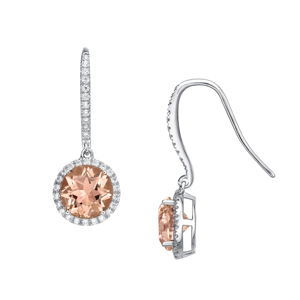 Sterling Silver Round Brilliant Cut Chandelier Earrings - Morganite Diamond Simulant in Sterling Silver