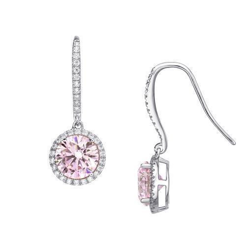 Sterling Silver Round Brilliant Cut Chandelier Earrings - Pink Diamond Simulant in Sterling Silver