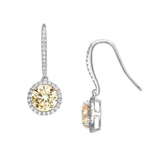 Sterling Silver Round Brilliant Cut Chandelier Earrings - Yellow Diamond Simulant in Sterling Silver